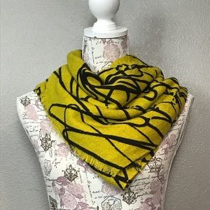 Yellow/green and black gorgeous blanket scarf